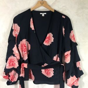 Bar III Floral Navy Blue Blouse Top